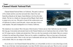 Print <i>Channel Islands National Park</i> reading comprehension.