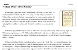 Print <i>William Otter- Street Scholar</i> reading comprehension.