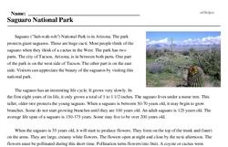 Print <i>Saguaro National Park</i> reading comprehension.