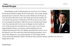 Print <i>Ronald Reagan</i> reading comprehension.