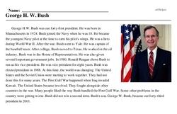 Print <i>George H. W. Bush</i> reading comprehension.