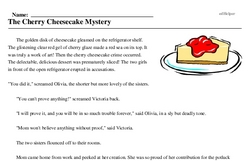 Print <i>The Cherry Cheesecake Mystery</i> reading comprehension.
