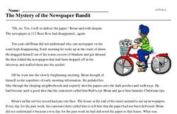 Print <i>The Mystery of the Newspaper Bandit</i> reading comprehension.