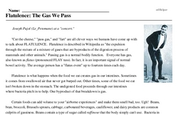 Print <i>Flatulence: The Gas We Pass</i> reading comprehension.