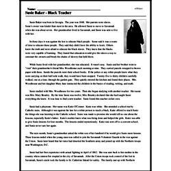 Print <i>Susie Baker - Black Teacher</i> reading comprehension.