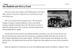 Print <i>The Hatfield and McCoy Feud</i> reading comprehension.