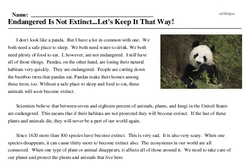 Print <i>Endangered Is Not Extinct...Let's Keep It That Way!</i> reading comprehension.