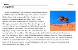 Print <i>Mosquitoes</i> reading comprehension.