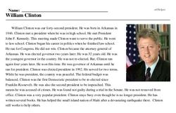 Print <i>William Clinton</i> reading comprehension.
