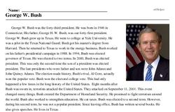 Print <i>George W. Bush</i> reading comprehension.