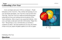 Print <i>Celebrating a New Year</i> reading comprehension.