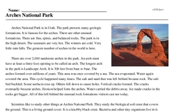 Print <i>Arches National Park</i> reading comprehension.