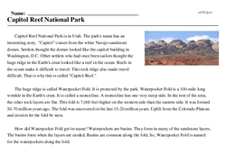 Print <i>Capitol Reef National Park</i> reading comprehension.