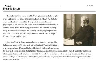 Print <i>Henrik Ibsen</i> reading comprehension.