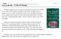 Print <i>Lucy Larcom - A Life of Change</i> reading comprehension.