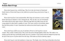 Print <i>Poison Dart Frogs</i> reading comprehension.