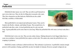 Print <i>Pufferfish</i> reading comprehension.