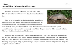 Print <i>Armadillos: Mammals with Armor</i> reading comprehension.