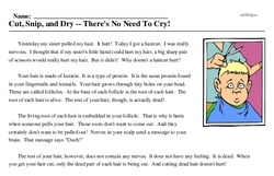 Print <i>Cut, Snip, and Dry -- There's No Need To Cry!</i> reading comprehension.