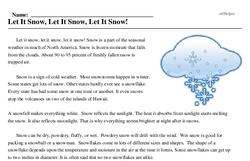 Print <i>Let It Snow, Let It Snow, Let It Snow!</i> reading comprehension.