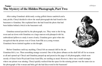 Print <i>The Mystery of the Hidden Photograph, Part Two</i> reading comprehension.