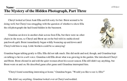 Print <i>The Mystery of the Hidden Photograph, Part Three</i> reading comprehension.