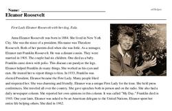 Print <i>Eleanor Roosevelt</i> reading comprehension.