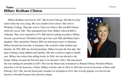 Print <i>Hillary Rodham Clinton</i> reading comprehension.
