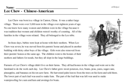 Print <i>Lee Chew - Chinese-American</i> reading comprehension.