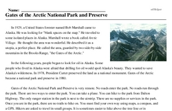 Print <i>Gates of the Arctic National Park and Preserve</i> reading comprehension.
