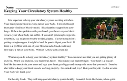 Print <i>Keeping Your Circulatory System Healthy</i> reading comprehension.