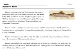 Print <i>Rainbow Trout</i> reading comprehension.