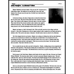 Print <i>John Manjiro- Accidental Visitor</i> reading comprehension.