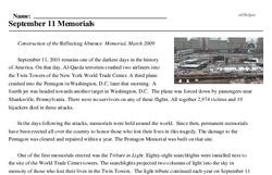 Print <i>September 11 Memorials</i> reading comprehension.