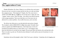 Print <i>The Aggravation of Acne</i> reading comprehension.