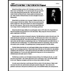 Print <i>Edward Everett Hale - A Boy's Life in New England</i> reading comprehension.