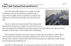 Print <i>Lake Clark National Park and Preserve</i> reading comprehension.