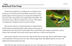 Print <i>Red-Eyed Tree Frogs</i> reading comprehension.