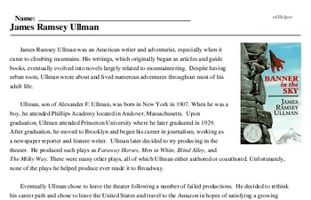 Print <i>James Ramsey Ullman</i> reading comprehension.