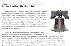 Print <i>Let Freedom Ring: The Liberty Bell</i> reading comprehension.