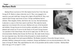 Print <i>Barbara Bush</i> reading comprehension.