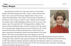 Print <i>Nancy Reagan</i> reading comprehension.