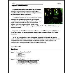 Print <i>Congaree National Park</i> reading comprehension.
