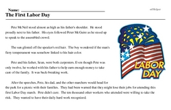 Print <i>The First Labor Day</i> reading comprehension.