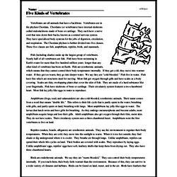 Print <i>Five Kinds of Vertebrates</i> reading comprehension.