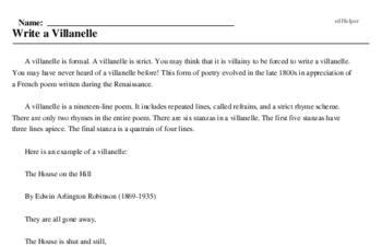 Print <i>Write a Villanelle</i> reading comprehension.