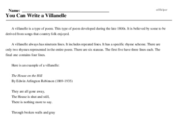 Print <i>You Can Write a Villanelle</i> reading comprehension.