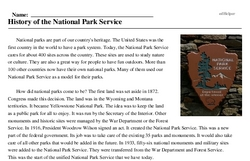 Print <i>History of the National Park Service</i> reading comprehension.