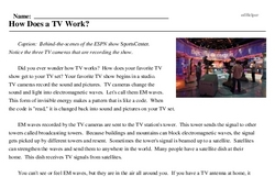 Print <i>How Does a TV Work?</i> reading comprehension.