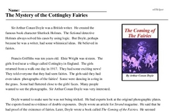 Print <i>The Mystery of the Cottingley Fairies</i> reading comprehension.